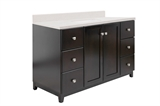 "Shorewood 2-Door 6-Drawer Vanity with Quartz 4"" Centerset Snowdrift Vanity Top, Unassembled, 49x22, Espresso #591495"