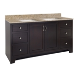 "Ventura 2-Door 4-Drawer Vanity with Granite 4"" Centerset Golden Sand Rectangle Double Bowl Vanity Top, Unassembled, 61x22, Espresso #592154"