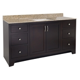 "Ventura 2-Door 4-Drawer Vanity with Granite 4"" Centerset Golden Sand Rectangle Bowl Vanity Top, Unassembled, 49x22, Espresso #592329"