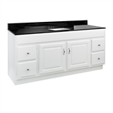 "Concord 2-Door 4-Drawer Vanity with Granite 4"" Centerset Black Pearl Rectangle Bowl Vanity Top, Unassembled, 61x22, White #592725"