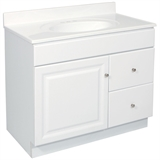 Wyndham 36 in. W x 21 in. D Unassembled Vanity Cabinet Only in White #597229