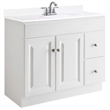 Wyndham 36 in. W x 18 in. D Unassembled Vanity Cabinet Only in White #597237