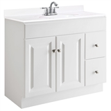 Wyndham 36 in. W x 21 in. D Unassembled Vanity Cabinet Only in White #597245
