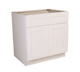 "Brookings 33"" Fully Assembled Kitchen Sink Base Cabinet, White Shaker #613281"