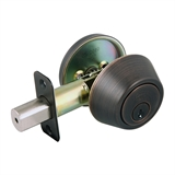 Single Cylinder 2-Way Adjustable Deadbolt, Brushed Bronze #702456