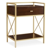 Gold Metal and Wood Nightstand/Side Table with Top AC/USB Charging #9069-WA