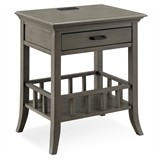 Basket Shelf Gray Nightstand/Side Table with Top AC/USB Charging #9070-GR