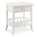 Basket Shelf White Nightstand/Side Table with Top AC/USB Charging #9070-WT