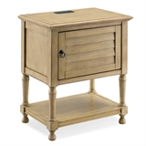 Louvered Door Desert Sand Nightstand/Side Table Cabinet with Top AC/USB Charging #9071-DS