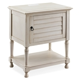 Louvered Door White Nightstand/Side Table Cabinet with Top AC/USB Charging #9071-WT