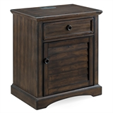 Louvered Door Rustic Nightstand/Side Table Cabinet with Drawer and Top AC/USB Charging #9072